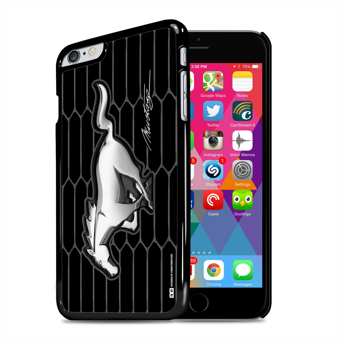Ford mustang chrome pony iphone 6 plus black cell phone case walmart com