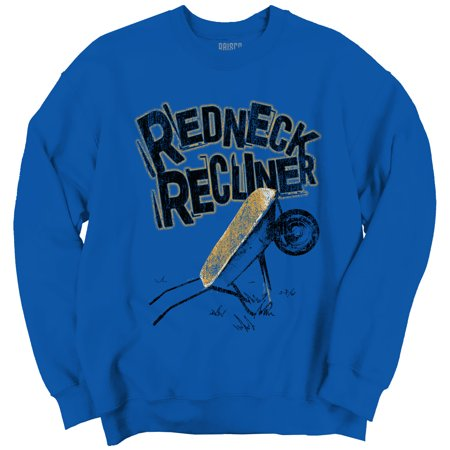 Funny Redneck Life Clothing Mens Drinking Recliner Crewneck Sweatshirt by Brisco Brands
