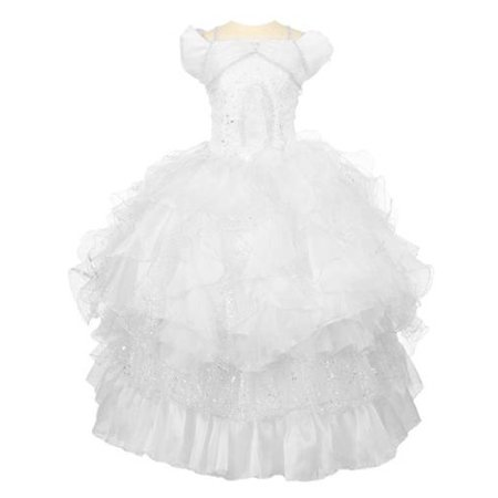 Rain Kids Big White Virgin Mary Detachable Ruffles First Communion Dress 18 - Communion Dress Sale