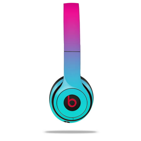 Skin Decal Wrap for Beats Solo 2 and Solo 3 Wireless Headphones Smooth Fades Neon Teal Hot Pink (BEATS NOT INCLUDED) by