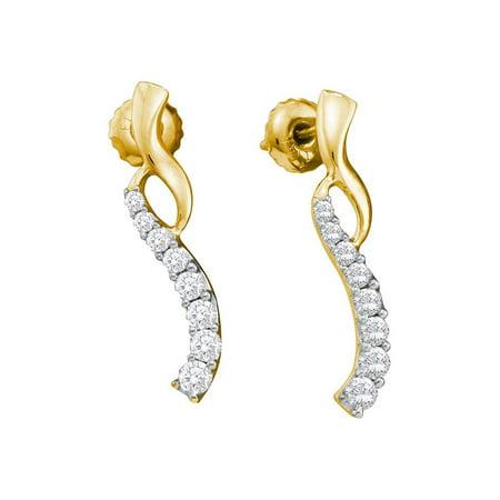 14kt Yellow Gold Womens Round Diamond Graduated Journey Screwback Earrings 1/2 Cttw