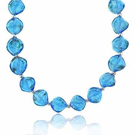 Sterling Silver .925 Two Tone Aqua Blue Glass Twisted Foil Bead Round Gold Silver Glitter Necklace