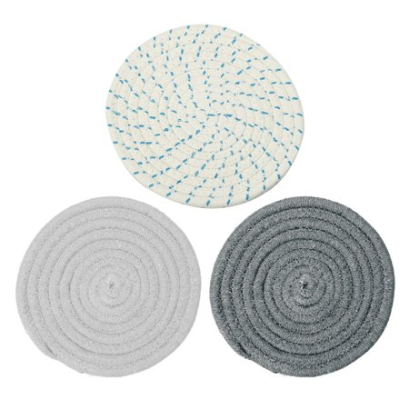 3pcs Round Cotton Coaster Mats Holder Heat-resistant Mat Placemats, 7 Inch Diameter Non-slip Table Protector Gray (Pink Drink Coaster)