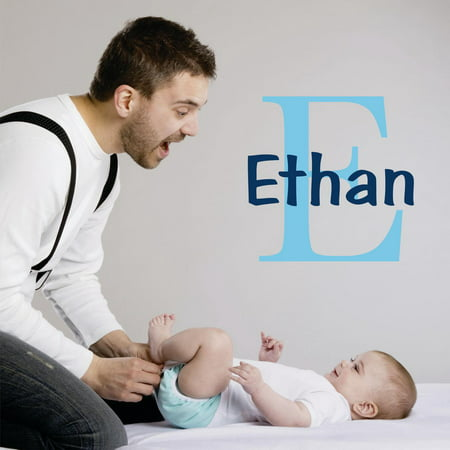 Personalized Name Vinyl Decal Sticker Custom Initial Wall Art Personalization Decor Sticker Baby Boy Nursery Room Children Bedroom 10 Inches X 10 Inches