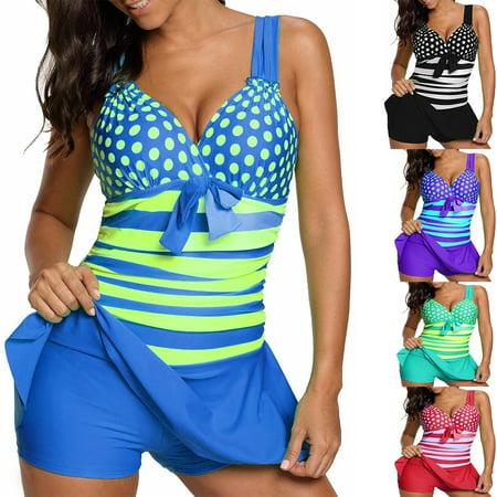 Senfloco Women Fashion Tankini Swimsuit Wide Strap Polka Dot Swim Dress and Dhort, Fit for Summer Swimwear,Pool Parties,Beach,Lake,Cruise,Vacation.