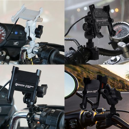 Waterproof Metal Motorcycle Smart Phone Mount with QC 3.0 USB Quick Charger - image 2 de 6
