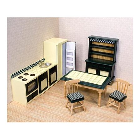 Melissa & Doug Classic Wooden Dollhouse Kitchen Furniture (7 pcs) - Buttery Yellow/Deep Green