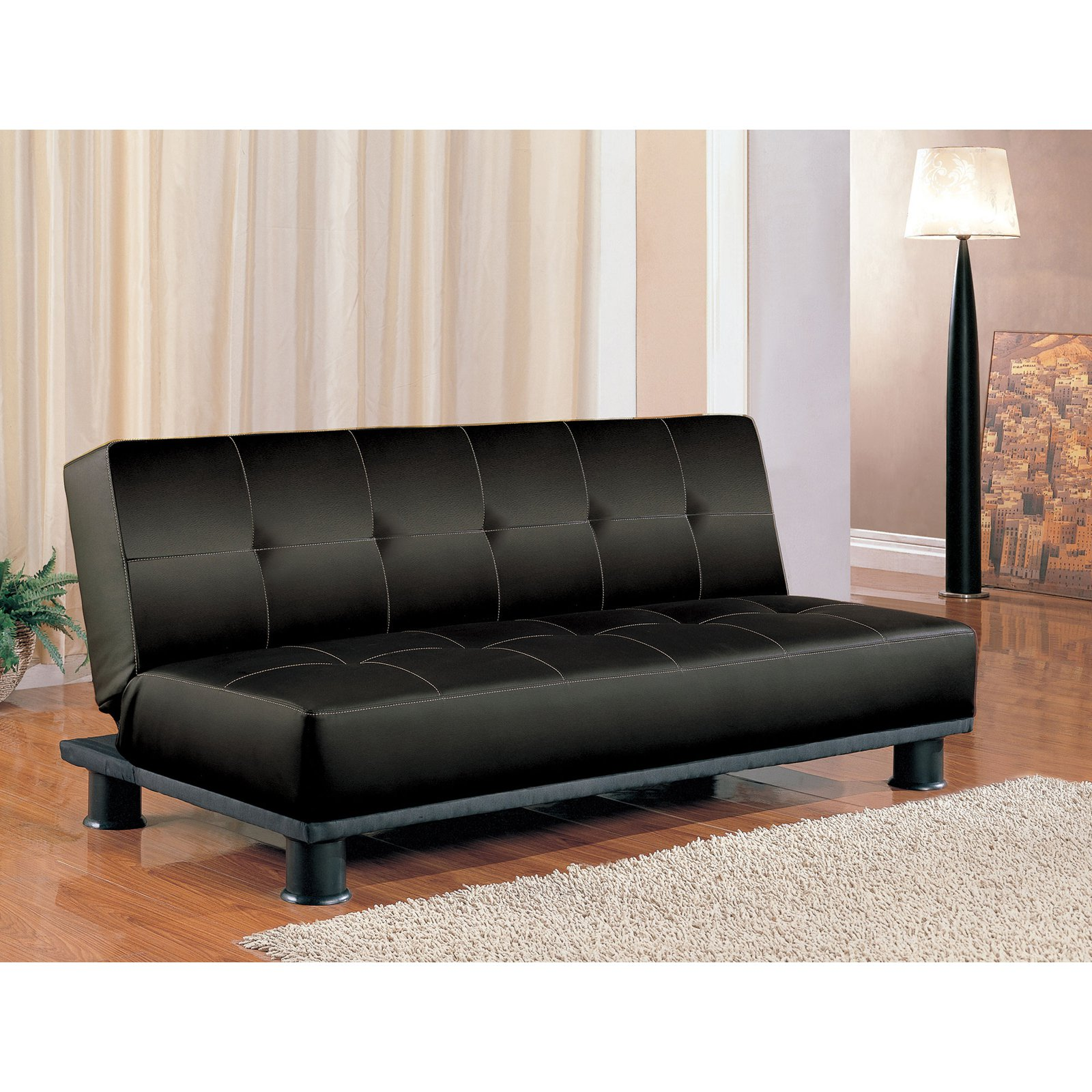 Coaster Company Transitional Sofa Bed, Black Leatherette