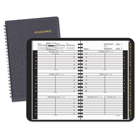 - AT-A-GLANCE Weekly Appointment Book, Hourly Appt, Phone/Address Tabs, 4 7/8 x 8, Black, 2018