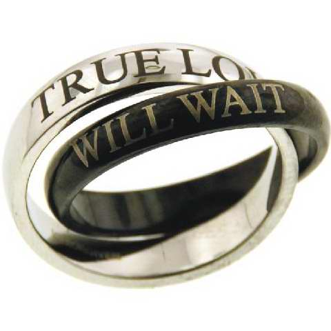 Ring-Purity/Love Will Wait-Black/Slv (Stainless)-Sz  9