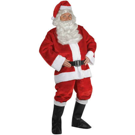 Star Power Santa Claus Plush Suit 6pc Costume, Red White Black, Adult Size