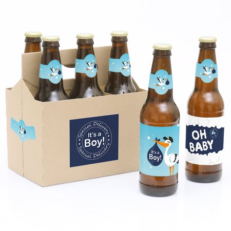 Boy Special Delivery - Blue Its A Boy Stork Baby Shower Party Decorations for Women and Men - 6 Beer Bottle Label Want to wish someone Congratulations! Our Special Delivery Boy - 6 Blue Its A Boy Stork Baby Shower Beer Bottle Label Stickers and 1 Carrier are the perfect gift for the adult or bring to a party. This set comes with a craft paper carrier and with 6 beer bottle labels that are printed on sticker paper that is waterproof. Apply labels to room temperature bottles. Apply beer bottle labels either after removing original label for best results or put over existing labels if you choose. Chill after you are done applying labels. For the two larger labels that are left over apply to the front and back of paper carrier. Use the two smaller ones to put on each end of the paper carrier to give you the completed look. (Beer in image is obviously NOT included).Kit includes 6 labels to decorate bottles and includes 4 labels for decorating the kraft paper carrier. Labels are printed on sticker paper that is waterproof.The main sticker label is 3.5  x 3  and the collar/neck sticker label is 3.5  long x 1.5  wide at the center. Apply labels to room temperature bottles. Apply beer bottle labels either after removing original label for best results or put over existing labels if you choose. Chill after you are done applying labels. (Beer in image is NOT included).