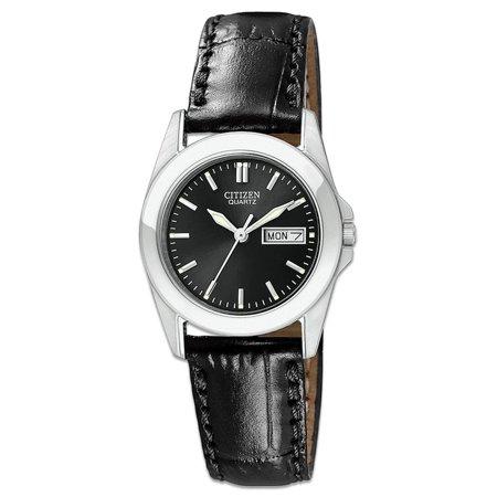 EQ0560-09E Women's Quartz Day Date Black Dial Leather Strap Watch