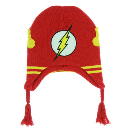 DC Comics The Flash Youth Laplander Knit Beanie Hat (Beanie Hat Dc)