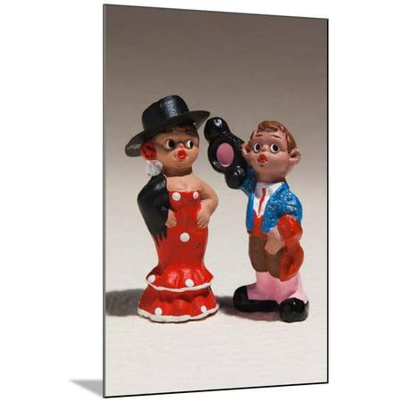 Souvenir miniature figurines of Spanish dancer and matador, Madrid, Spain Wood Mounted Print Wall