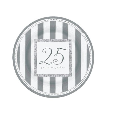 25th Wedding Anniversary 'Silver Wishes' Large Paper Plates (8ct) 25th Wedding Anniversary Plate