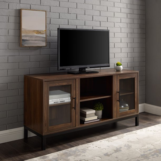 "Manor Park 52 inch Modern TV Stand for TVs up to 58"", Walnut"