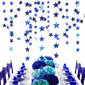 Royal Blue And Silver Baby Shower Decorations (Reflective Blue Star Garlands Streamer/Bunting/Backdrop Party Decoration Stars Hanging Decor for Frozen Birthday/Blue Silver Wedding/Engagement/Royal Baby Shower/Kids Room/Home)