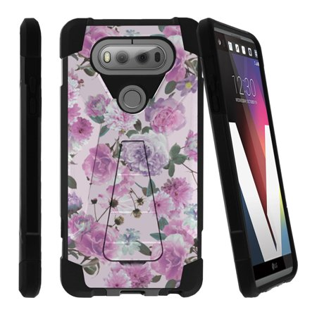 LG V20 SHOCK FUSION Heavy Duty Dual Layer Shock Impact Resistant Case with Built In Kickstand and Exclusive Designs - Pink Purple