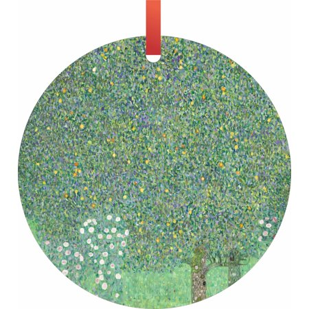 Artist Gustav Klimt Under the Rose Bushes Painting Flat Round - Shaped Christmas Holiday Hanging Tree Ornament Disc Made in the U.S.A.