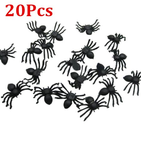 Diy Halloween Party Snacks (20pcs Halloween Mini Plastic Black Luminous Spider Prank Joking Birthday Toys DIY Decorative Spiders 2cm Spider Party)