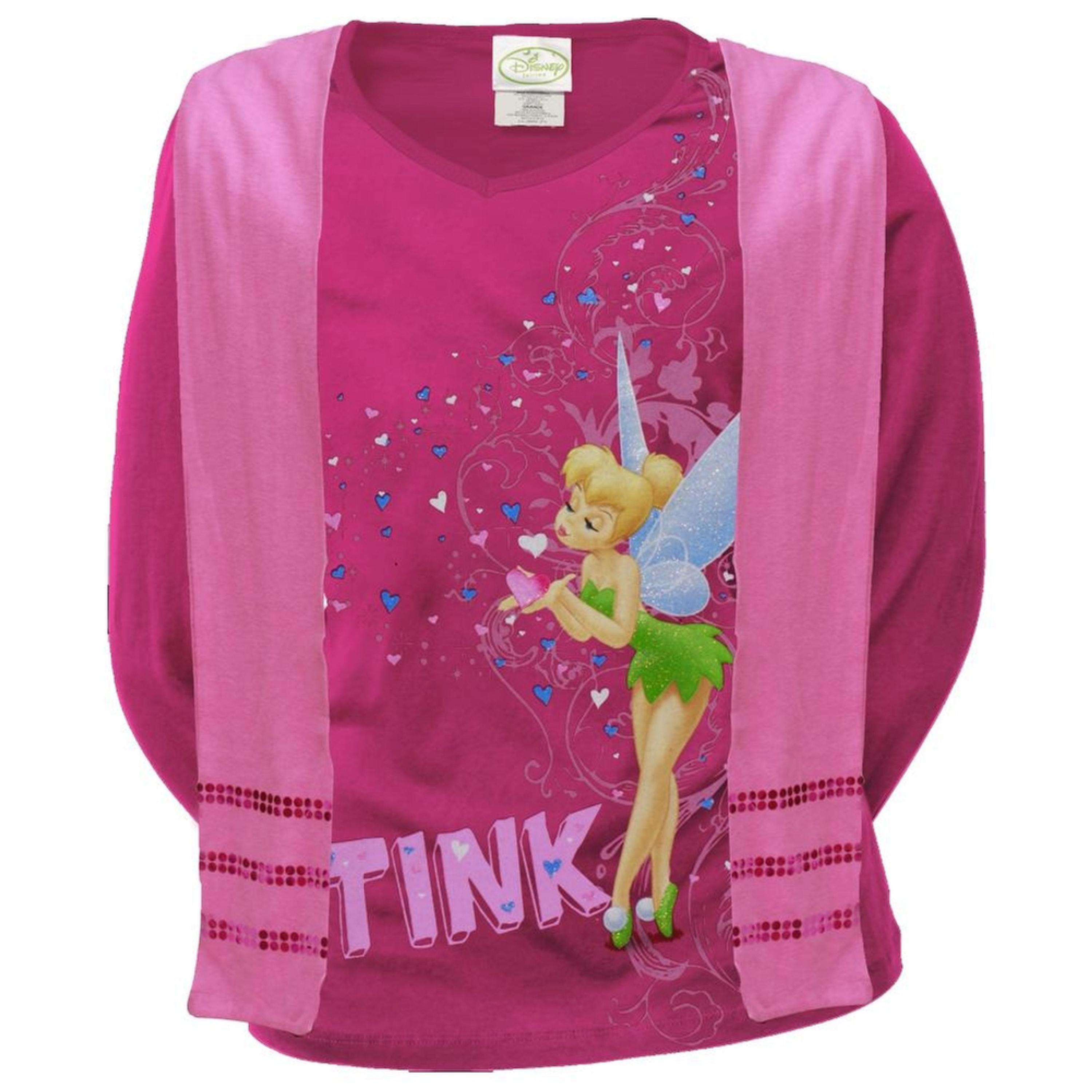 Tinkerbell - Tink Love Girls Youth Long Sleeve T-Shirt w/ Scarf