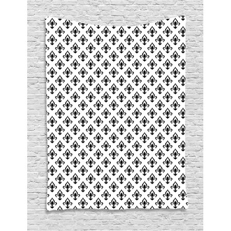 Western Wall Decor (Fleur De Lis Tapestry, Abstract Flower Pattern European Western Civilization Inspirations Baroque, Wall Hanging for Bedroom Living Room Dorm Decor, 60W X 80L Inches, Black White, by Ambesonne)