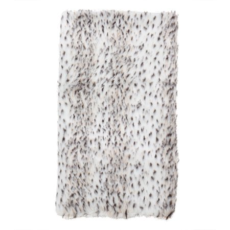 Fennco Styles Elegant Faux Fur Spotted Snow Leopard Poly Filled Throw Blanket-50