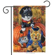 "Halloween Kittens Garden Flag Pirate Jack o'Lantern Count Cats 12.5"" x 18"""