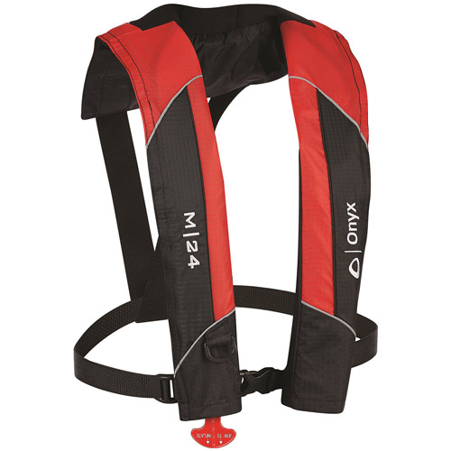Click here to buy Onyx Outdoor M-24 Manual Inflatable Life Jacket by Onyx Outdoor.