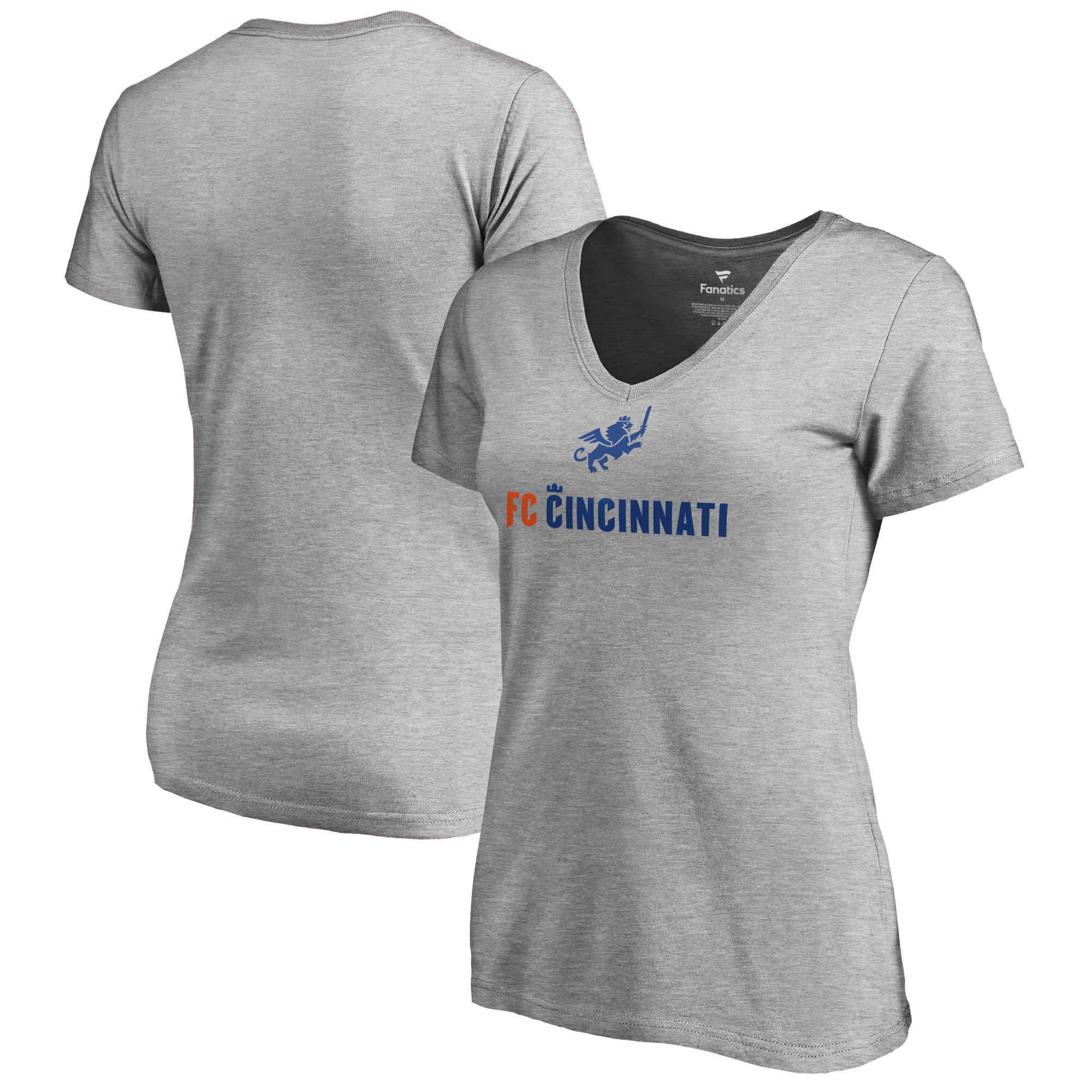 FC Cincinnati Fanatics Branded Women's Victory Arch V-Neck T-Shirt - Heather Gray