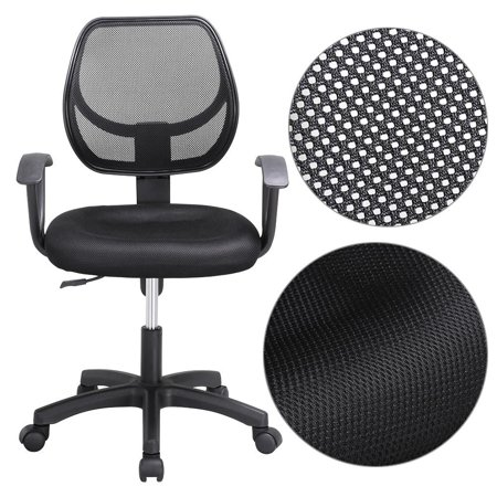 Long Back Chair - Yaheetech Adjustable Swivel Computer Desk Chair Fabric Mesh Office Chair with Arms Seating Back Rest - Black