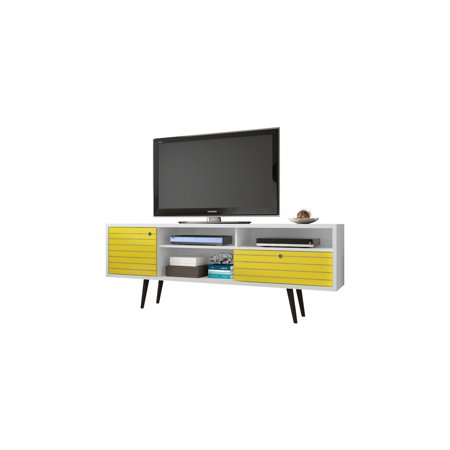 Liberty 70 86  Mid Century   Modern Tv Stand With 4 Shelving Spaces And 1 Drawer In White And Yellow With Solid Wood Legs