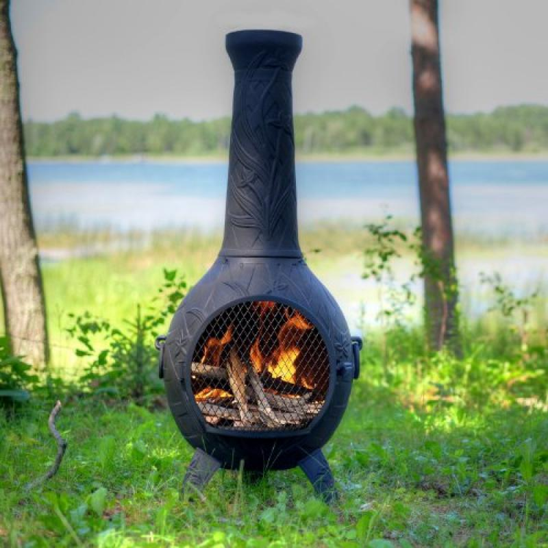 The Blue Rooster Co. Orchid Style Cast Aluminum Wood Burning Chiminea in Charcoal. by