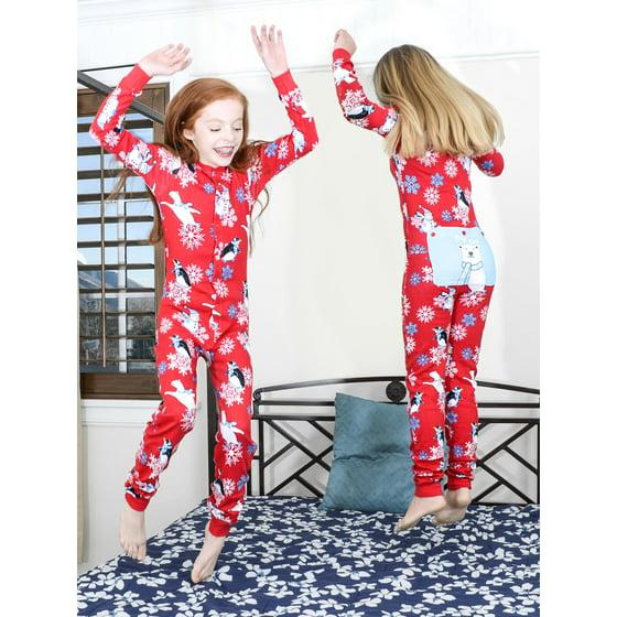 0c3110921 Big Feet Pajamas - Winter Fun Penguins Union Suit Boys   Girls One ...
