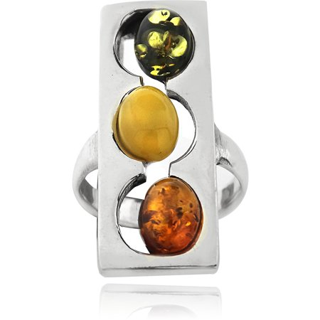 Image of Amber Nights 3-Multi-Amber-Stone Sterling Silver Square Frame Oval Stone Ring