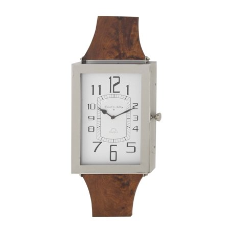 Decmode Modern Mango Wood And Stainless Steel Rectangular Wall Clock Brown
