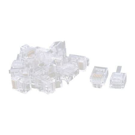 Unique Bargains 16 PCS Plastic Housing 6P6C RJ12 Network Cable Crimp Plug Connector Clear