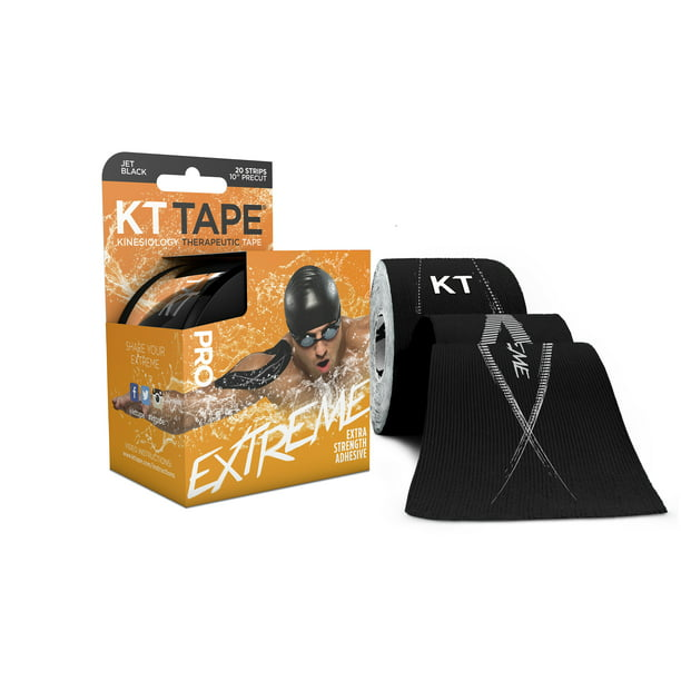 KT Tape, Pro Extreme Synthetic, Black, 20 Ct