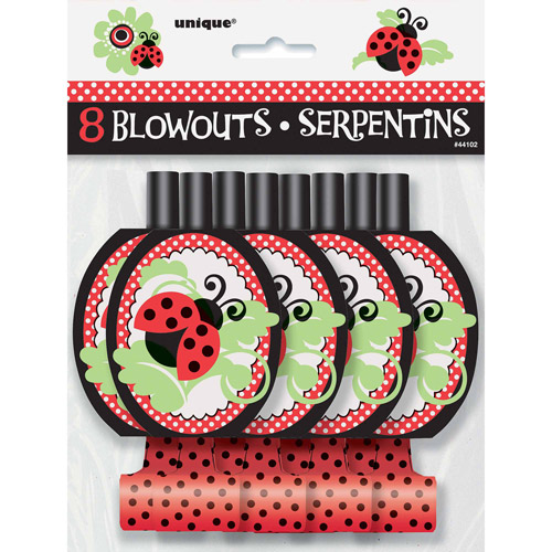Ladybug Party Blowers, 8-Count