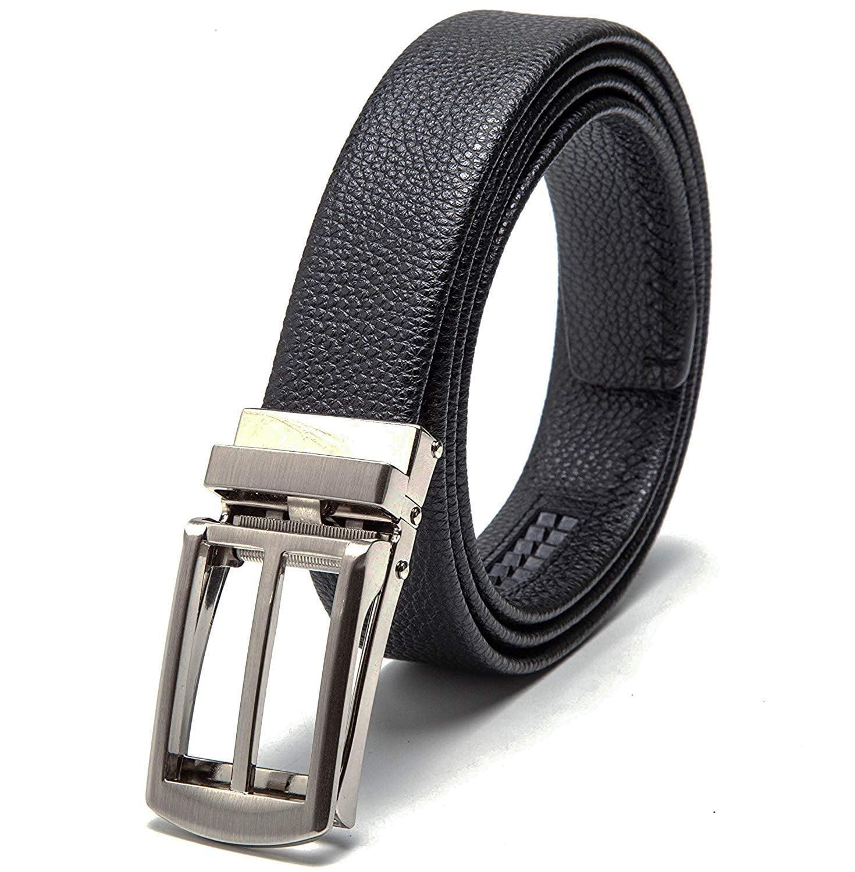 Men/'s Leather Dress Belt Exact Fit Automatic Buckle Ratchet Small Gold Lion Logo