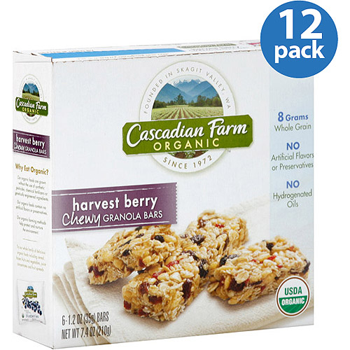 Cascadian Farm Organic Harvest Berry Chewy Granola Bars, 7.4 oz, (Pack of 12)