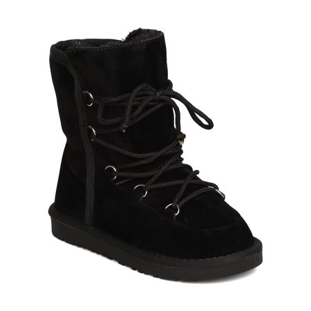 New Girl Betani Sadie-2 Faux Suede Fur Line Lace Up Tall Winter Boot