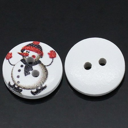 Sexy Sparkles 10 Pcs, Round Wood Snowman Holiday Buttons 15mm (5/8