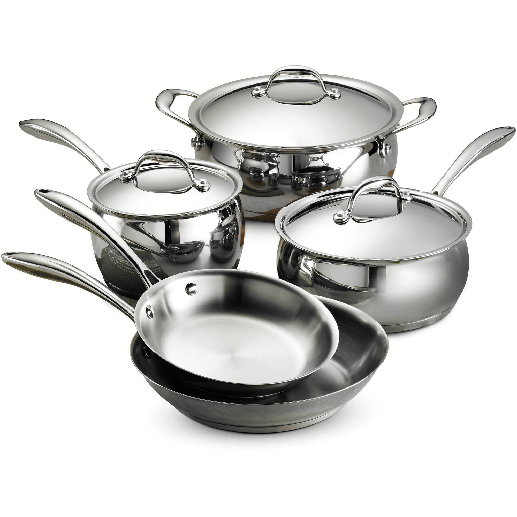 Tramontina Gourmet Domus 18 10 Stainless Steel Tri-Ply Base 8-Piece Cookware Set by Tramontina USA Inc.