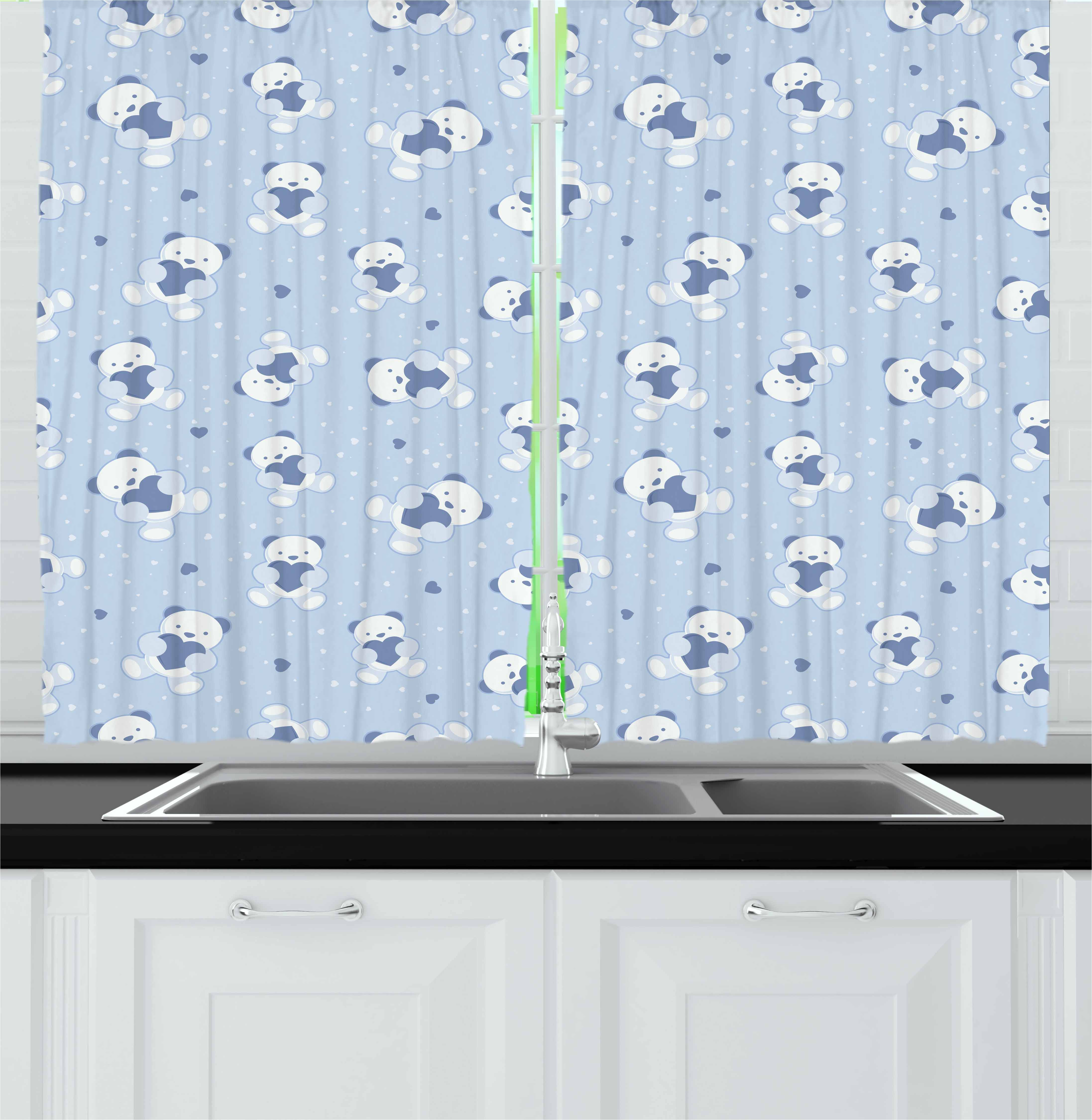 Boy's Curtains 2 Panels Set, Teddy Bears on Blue Backdrop Holding Hearts Baby Shower Theme Toddler, Window Drapes for Living Room Bedroom, 55W X 39L Inches, Baby Blue Cadet Blue White, by Ambesonne