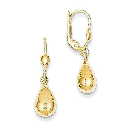 14K Yellow Gold Fancy Teardrop Dangle Leverback Earrings