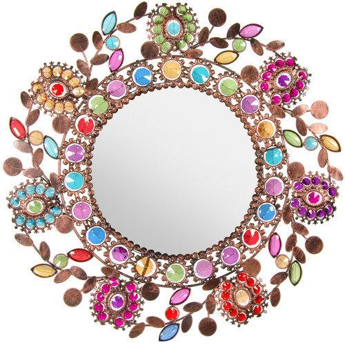 Oriental Furniture Flowing Leaves and Flowers Beaded Mirror