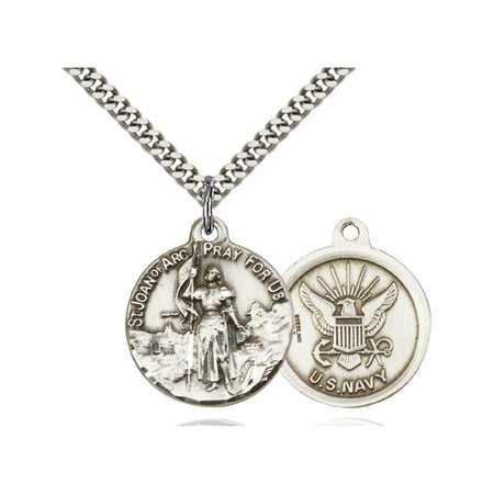 Joan Jewelry (Sterling Silver St. Joan of Arc Pendant 7/8 x 3/4 inches with Heavy Curb)