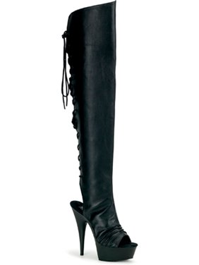 18e13657289 Product Image 5 3/4 Inch Heel Sexy Boots Open Toe Thigh Boot Back Lace Up  Black. SummitFashions